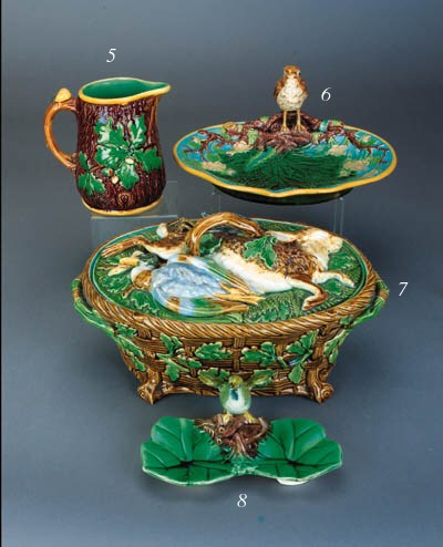 A majolica ring stand modelled