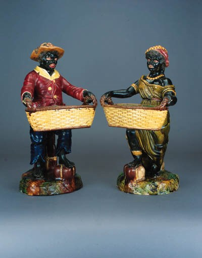 A pair of English majolica bla