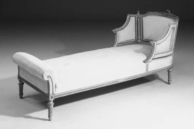 A giltwood and grey-painted du