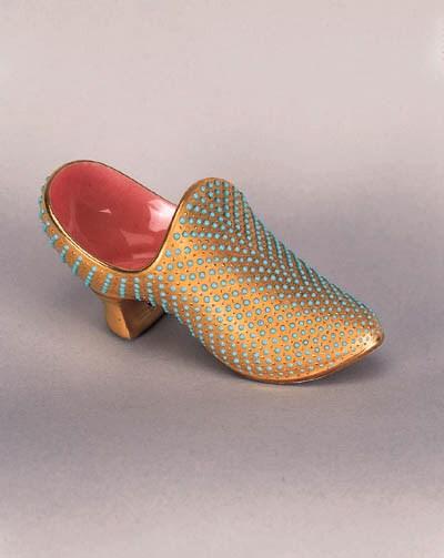A Coalport 'jewelled' slipper