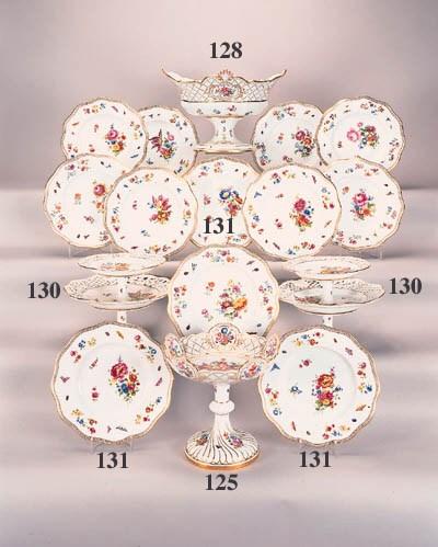 Twelve Meissen dessert plates