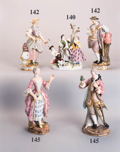 A pair of Meissen figures of g