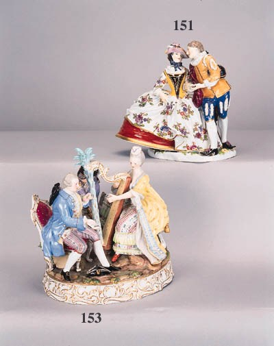 A Meissen group of Columbine a