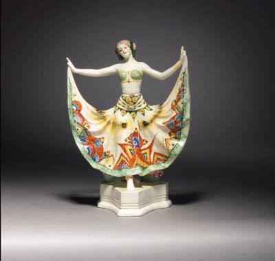 A Goldscheider polychrome pott