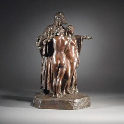 A patinated bronze figure grou