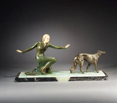 A patinated spelter and faux i