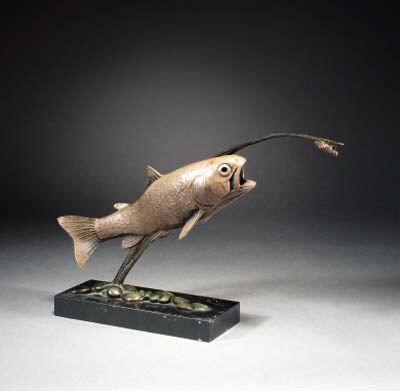 A patinated spelter fish