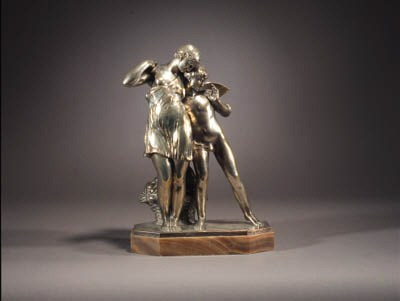 A silvered bronze figure group