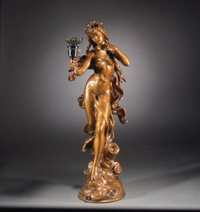An Art Nouveau gilt spelter ta