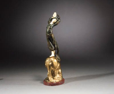 A gilt and patinated bronze an