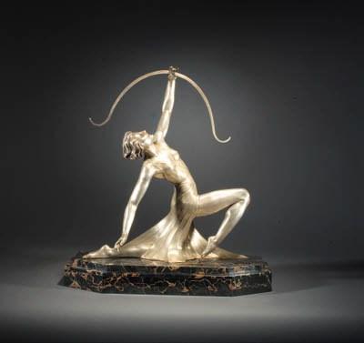 A silver bronze figure