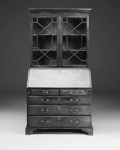 A mahogany bureau bookcase, th