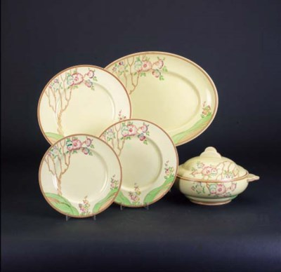 A dinner service painted with
