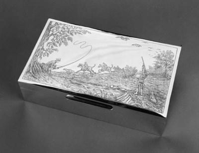 A modern oblong cigar box