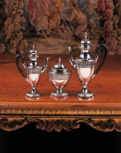 A German silver three-piece co