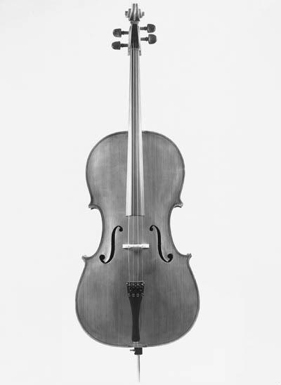 A violoncello labelled AD ALBE
