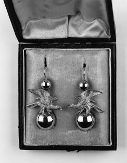 A pair of Victorian gold earri