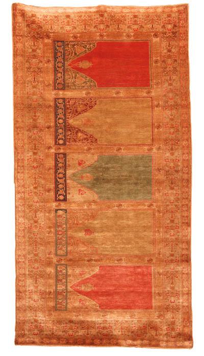 A fine antique silk multiple-prayer Saf Tabriz long rug, North-West Persia
