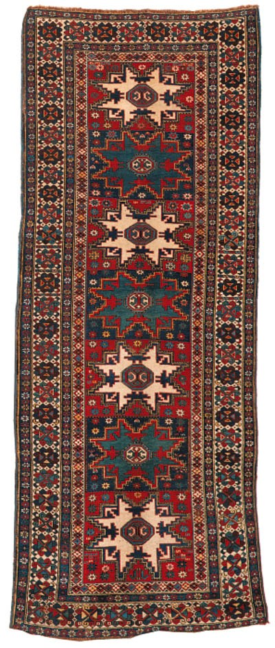 A fine antique Kuba long rug,