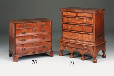 A walnut and crossbanded chest