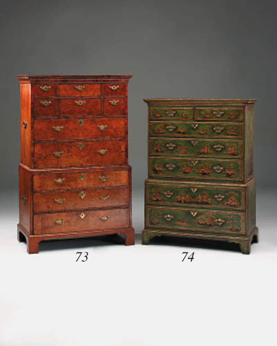 A walnut chest-on-chest, early