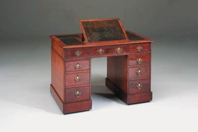 A mahogany pedestal desk, earl