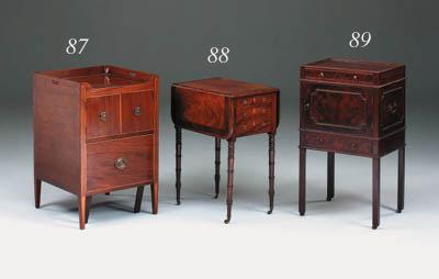 A mahogany bedside cupboard, Georgian and adapted