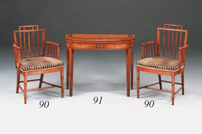 A set of four satinwood simula