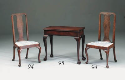 A pair of walnut dining/side c