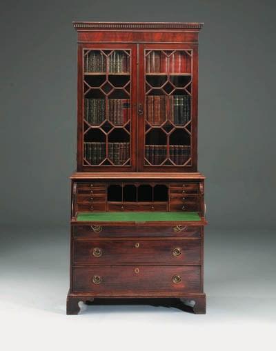 A mahogany secretaire bookcase