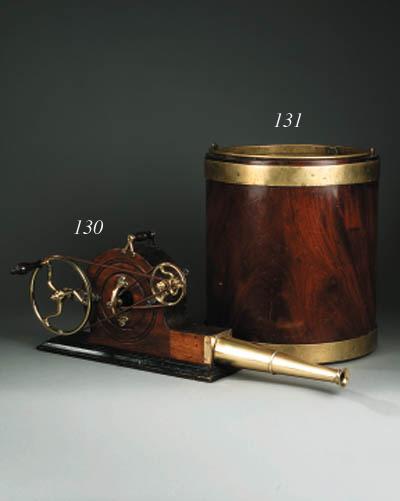 A George III brass bound mahogany peat bucket, early 19th century