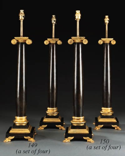 A set of four gilt metal and b
