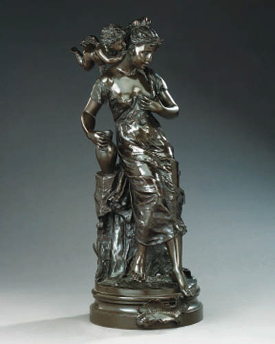 A French bronze group of a maiden with cupid, late 19th or early 20th century
