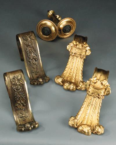 Three pairs of gilt brass and