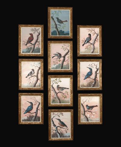 A set of ten gouache pictures