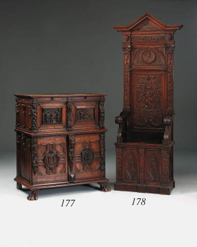A Flemish carved oak throne or