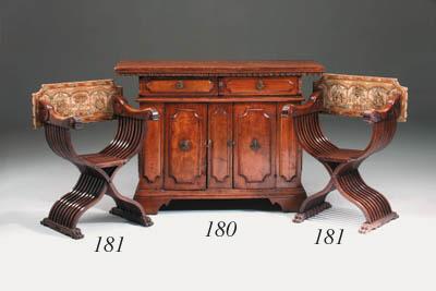 A set of six Italian carved wa