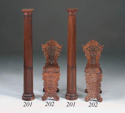 A pair of oak columns, early 1