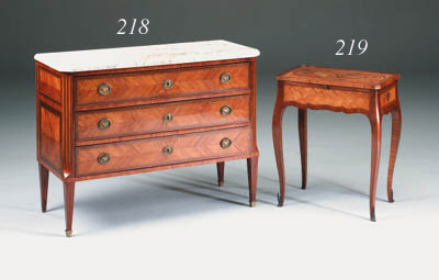 A French marquetry table a ecr
