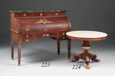 A mahogany and parcel-gilt cen