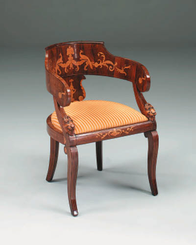 An Italian Empire period rosewood and marquetry tub armchair, early 19th Century
