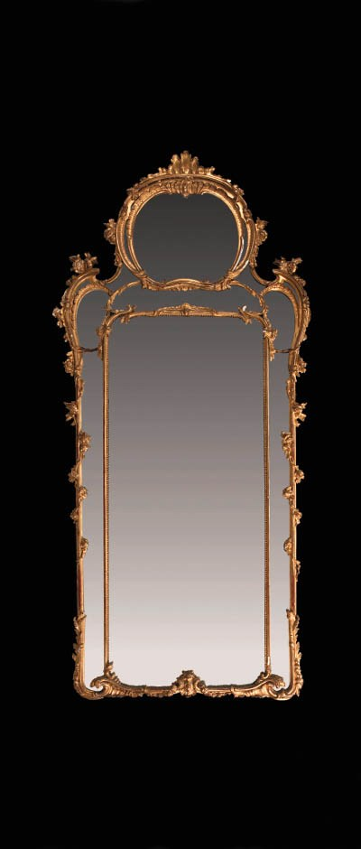 A carved giltwood mirror, 19th