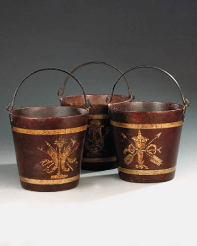 Three French papier mch bucket