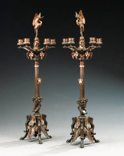 A pair of French bronze five l