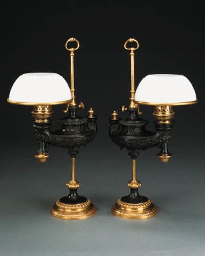 A pair of German oil lamps, 19