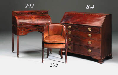 A mahogany and marquetry cylinder bureau, late 19th/early 20th century