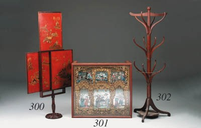 A scarlet japanned chinoiserie