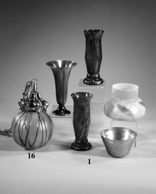 Two Czechoslovakian glass vase