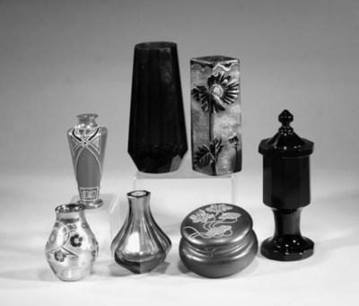 A Bohemian amethyst glass vase
