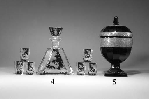 A Moser amethyst glass vase an